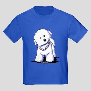 KiniArt Bichon In Pearls Kids Dark T-Shirt