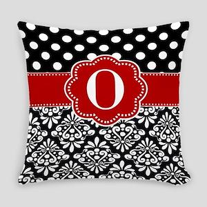 Black Red Dots Damask Monogram Everyday Pillow