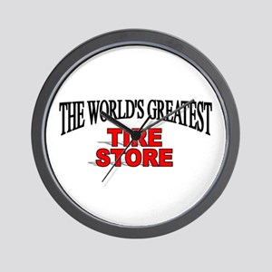 """""""The World's Greatest Tire Store"""" Wall Clock"""