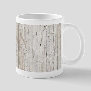 shabby chic white barn wood Mugs