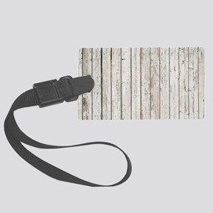 shabby chic white barn wood Large Luggage Tag
