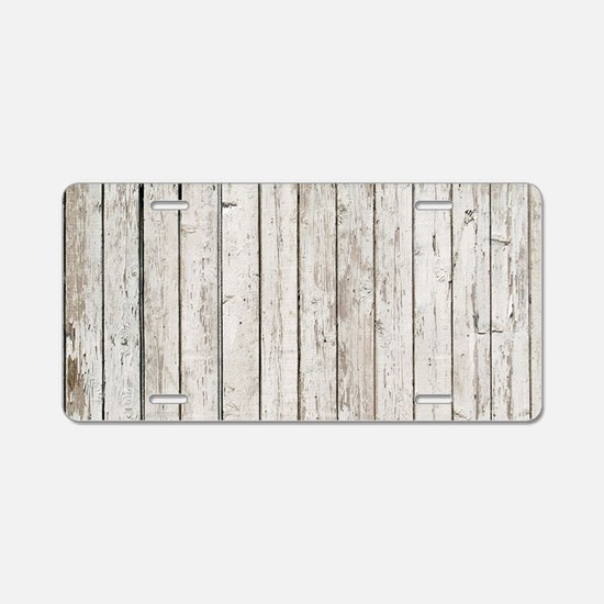 shabby chic white barn wood Aluminum License Plate
