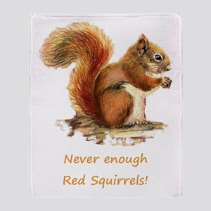 Never Enough Red Squirrels Fun Throw Blanket