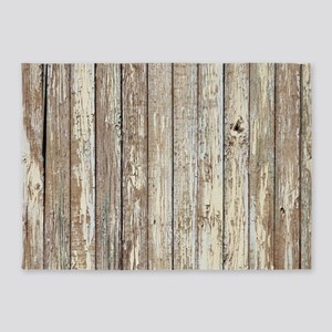 shabby chic white barn wood 5'x7'Area Rug