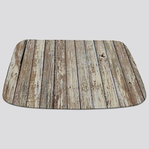 shabby chic white barn wood Bathmat