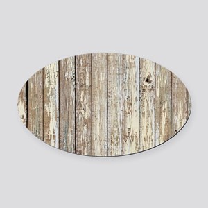 shabby chic white barn wood Oval Car Magnet