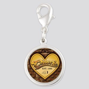 Cheers Heart Silver Round Charm