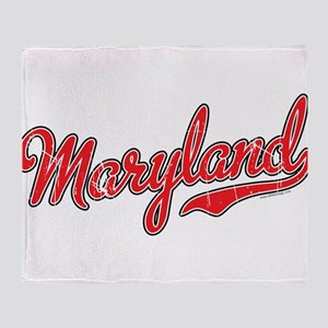 Maryland Script Font Red Throw Blanket