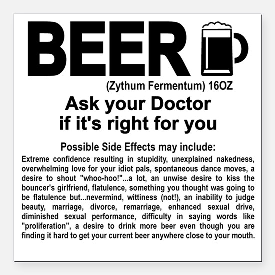 "Beer, ask your doctor if Square Car Magnet 3"" x 3"""
