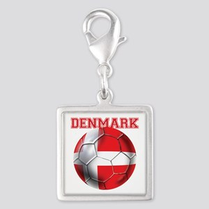 Denmark Soccer Silver Square Charm