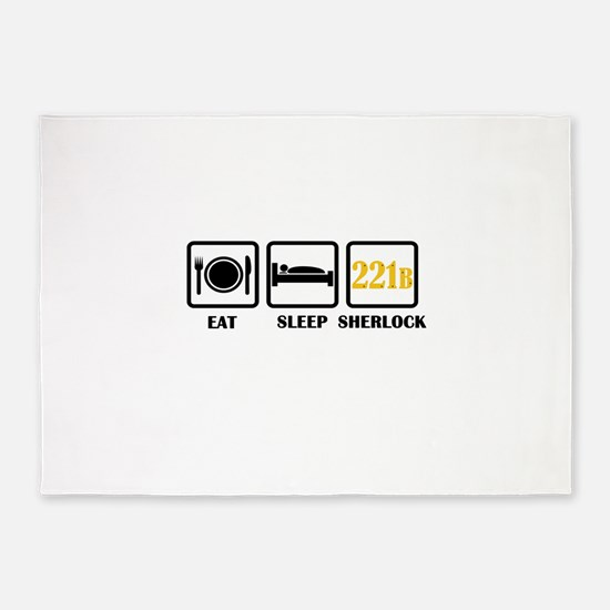Eat Sleep Sherlock 5'x7'Area Rug