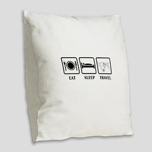 Eat Sleep Travel Burlap Throw Pillow