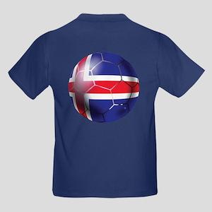 Iceland Soccer Ball Kids Dark T-Shirt