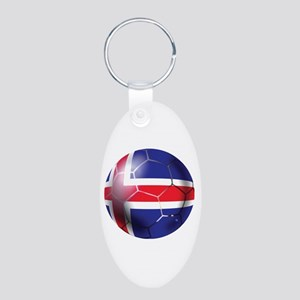 Iceland Soccer Ball Aluminum Oval Keychain
