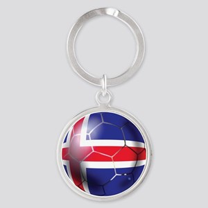 Iceland Soccer Ball Round Keychain