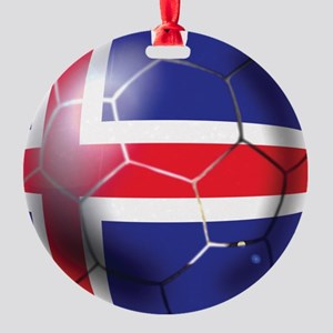 Iceland Soccer Ball Round Ornament