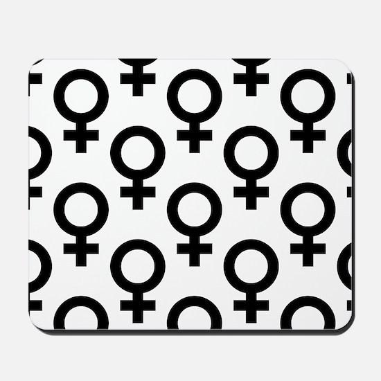Large Black Venus Symbol on White Mousepad