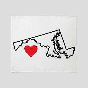 I Love Maryland Throw Blanket