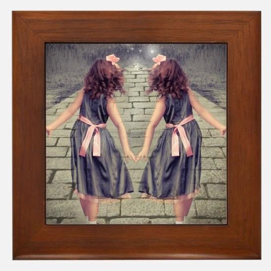 vintage garden twin girls Framed Tile