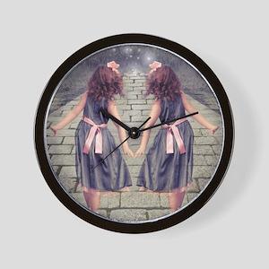 vintage garden twin girls Wall Clock