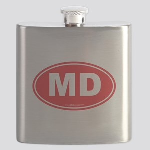 Maryland MD Euro Oval RED Flask