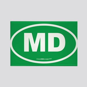 Maryland MD Euro Oval GREEN Rectangle Magnet