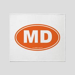 Maryland MD Euro Oval ORANGE Throw Blanket