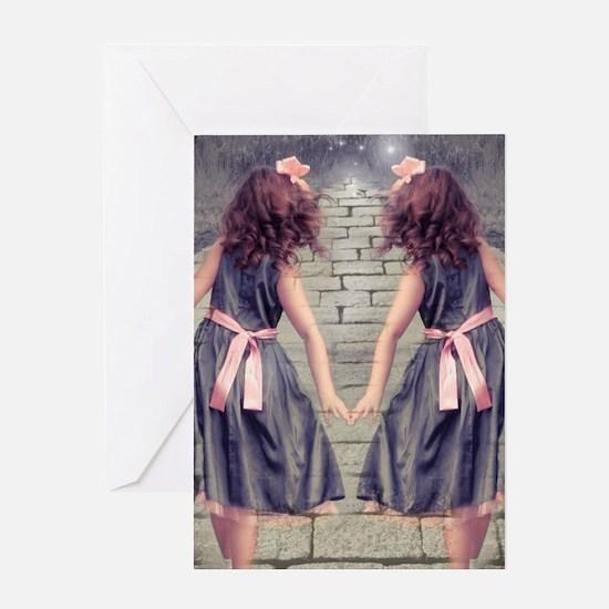 vintage garden twin girls Greeting Cards