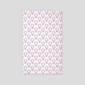 Patterened Pink Venus Symbols on White Area Rug