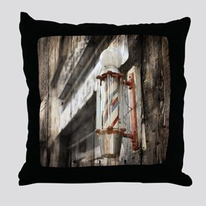 vintage barber shop pole Throw Pillow