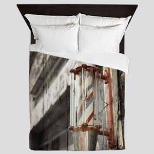 vintage barber shop pole Queen Duvet