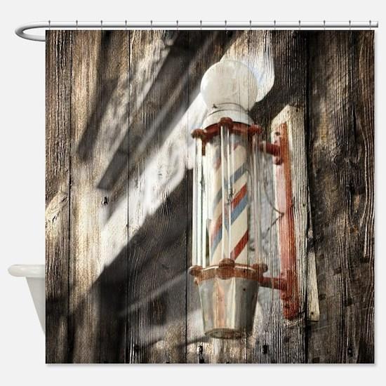 vintage barber shop pole Shower Curtain