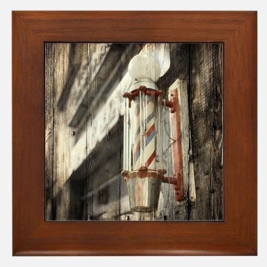 vintage barber shop pole Framed Tile