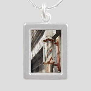vintage barber shop pole Silver Portrait Necklace