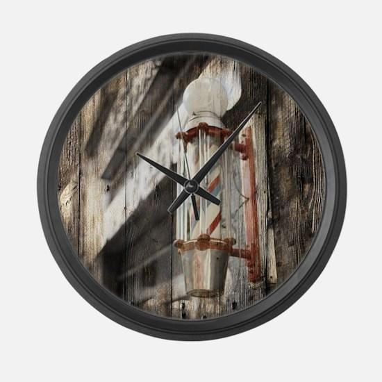 vintage barber shop pole Large Wall Clock