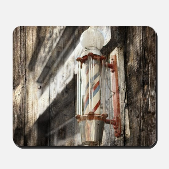 vintage barber shop pole Mousepad
