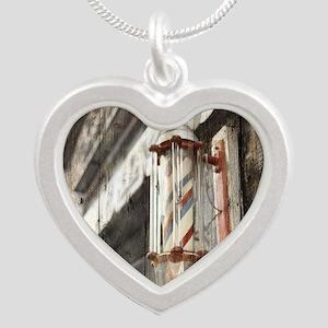 vintage barber shop pole Silver Heart Necklace