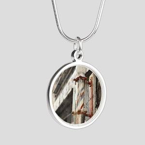 vintage barber shop pole Silver Round Necklace