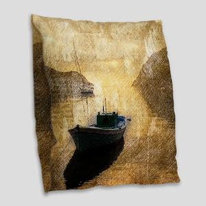 vintage country canoe lake  Burlap Throw Pillow
