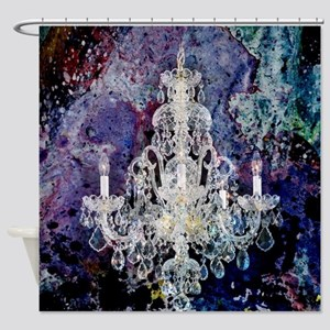 rustic vintage chandelier watercolo Shower Curtain
