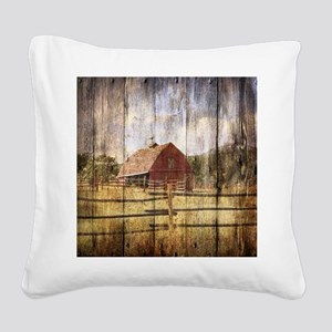 western country red barn Square Canvas Pillow