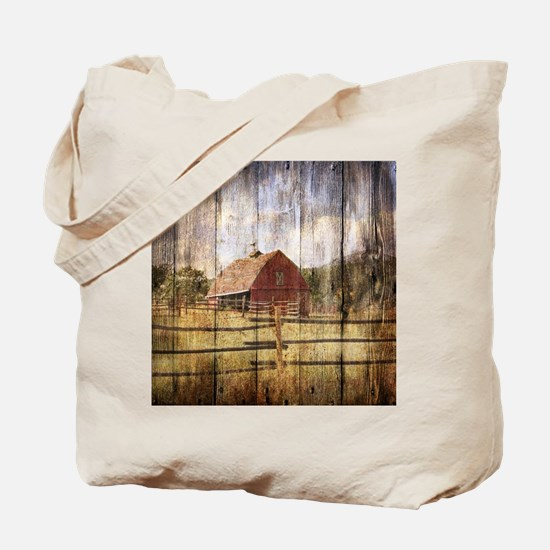 western country red barn Tote Bag