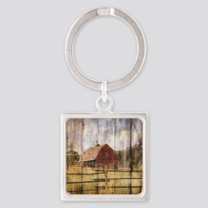western country red barn Square Keychain