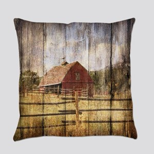 western country red barn Everyday Pillow