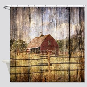 Western Country Red Barn Shower Curtain