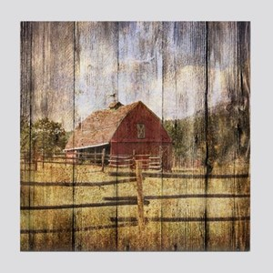 western country red barn Tile Coaster