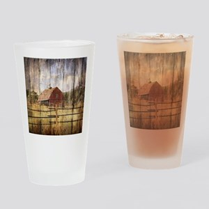 western country red barn Drinking Glass