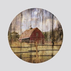 western country red barn Round Ornament
