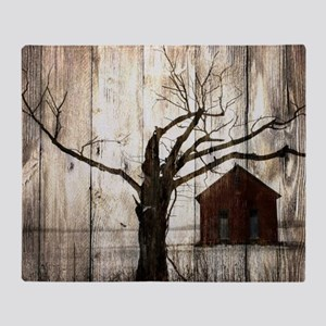 rural landscape old barn Throw Blanket