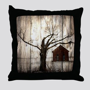 rural landscape old barn Throw Pillow